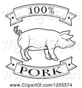 Swine Clipart of Black and White 100 Percent Pork Food Banners and Pig by AtStockIllustration