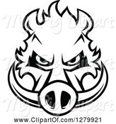 Swine Clipart of Black and White Aggressive Boar Head by Vector Tradition SM