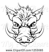 Swine Clipart of Black and White Aggressive Boar Mascot Face by AtStockIllustration