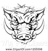 Swine Clipart of Black and White Aggressive Boar Mascot Head by AtStockIllustration