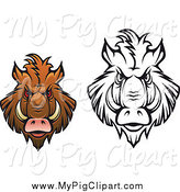 Swine Clipart of Black and White and Brown Angry Boar Heads by Vector Tradition SM