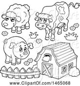 Swine Clipart of Black and White Barn with a Cow, Sheep and Pig by Visekart