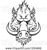 Swine Clipart of Black and White Boar Face by Vector Tradition SM