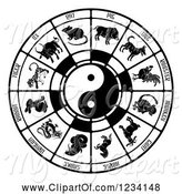 Swine Clipart of Black and White Chinese Zodiac and Yin Yang by AtStockIllustration
