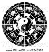 Swine Clipart of Black and White Chinese Zodiac Yin Yang by AtStockIllustration