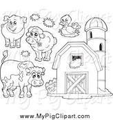 Swine Clipart of Black and White Farm Animals and a Barn with Granary by Visekart