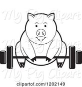 Swine Clipart of Black and White Fit Pig Exercising and Lifting a Barbell by Lal Perera
