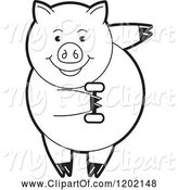 Swine Clipart of Black and White Fit Pig Exercising with a Dumbbell by Lal Perera