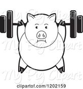 Swine Clipart of Black and White Fit Pig Exercising with a Heavy Barbell by Lal Perera