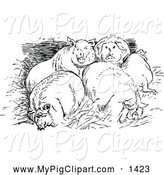 Swine Clipart of Black and White Huddled Pigs by Prawny Vintage