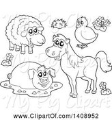 Swine Clipart of Black and White Lineart Farm Animals by Visekart