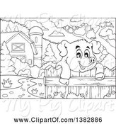 Swine Clipart of Black and White Lineart Happy Pig Looking over a Fence in a Barnyard by Visekart