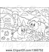 Swine Clipart of Black and White Lineart Pigs at a Mud Puddle in a Barnyard by Visekart