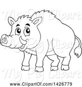 Swine Clipart of Black and White Lineart Razorback Boar by Visekart