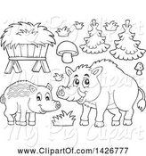 Swine Clipart of Black and White Lineart Razorback Boar Mother and Piglet by Visekart
