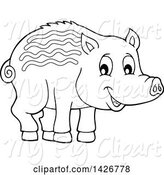 Swine Clipart of Black and White Lineart Razorback Boar Piglet by Visekart