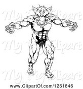 Swine Clipart of Black and White Muscular Aggressive Boar Guy Mascot Attacking by AtStockIllustration