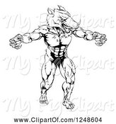 Swine Clipart of Black and White Muscular Aggressive Boar Mascot by AtStockIllustration