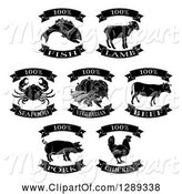Swine Clipart of Black and White One Hundred Percent Fish, Vegetarian and Meat Food Labels by AtStockIllustration