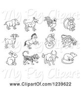 Swine Clipart of Black and White Outlined Chinese Zodiac Animals by AtStockIllustration