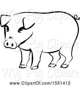Swine Clipart of Black and White Pig by BNP Design Studio
