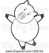 Swine Clipart of Black and White Pig Dancing by Lal Perera