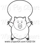 Swine Clipart of Black and White Pig Exercising with a Jump Rope by Lal Perera