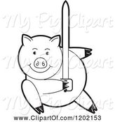 Swine Clipart of Black and White Pig Fighting with a Sword by Lal Perera