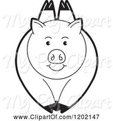 Swine Clipart of Black and White Pig Leaping by Lal Perera