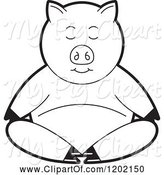 Swine Clipart of Black and White Pig Meditating by Lal Perera