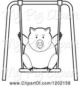 Swine Clipart of Black and White Pig Playing on a Swing by Lal Perera
