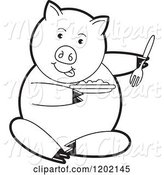 Swine Clipart of Black and White Pig Sitting and Eating by Lal Perera