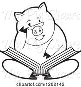 Swine Clipart of Black and White Pig Sitting and Reading a Book by Lal Perera