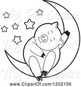 Swine Clipart of Black and White Pig Sleeping on a Crescent Moon 2 by Lal Perera