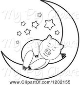 Swine Clipart of Black and White Pig Sleeping on a Crescent Moon by Lal Perera