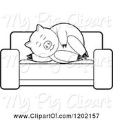 Swine Clipart of Black and White Pig Sleeping on a Sofa by Lal Perera