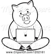 Swine Clipart of Black and White Pig Using a Laptop Computer by Lal Perera