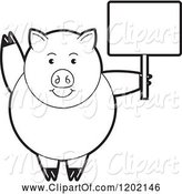Swine Clipart of Black and White Pig Waving and Holding a Sign by Lal Perera