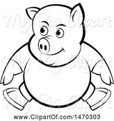 Swine Clipart of Black and White Pig Wearing Clothes by Lal Perera