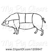 Swine Clipart of Black and White Pig with Butcher Sections of Meat Cuts by Picsburg