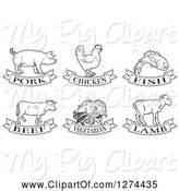 Swine Clipart of Black and White Pork, Chicken, Fish, Beef, Vegetarian and Lamb Animal and Food Designs by AtStockIllustration