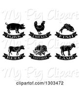 Swine Clipart of Black and White Pork, Chicken, Fish, Beef, Vegetarian and Lamb Food Designs by AtStockIllustration