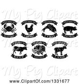 Swine Clipart of Black and White Premium Chicken, Beef, Pork, Lamb, Fish, Seafood and Vegetarian Food Labels 2 by AtStockIllustration