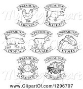 Swine Clipart of Black and White Premium Chicken, Beef, Pork, Lamb, Fish, Seafood and Vegetarian Food Labels by AtStockIllustration