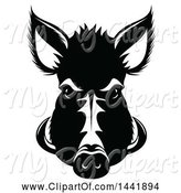 Swine Clipart of Black and White Razorback Boar Head by Vector Tradition SM