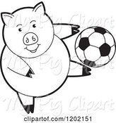 Swine Clipart of Black and White Sporty Pig Playing Soccer by Lal Perera
