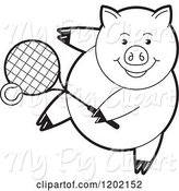 Swine Clipart of Black and White Sporty Pig Playing Tennis by Lal Perera