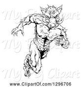 Swine Clipart of Black and White Sprinting Muscular Boar Guy by AtStockIllustration