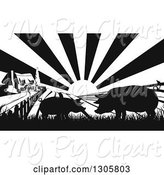 Swine Clipart of Black and White Sunrise over a Farm House with Silhouetted Pigs and Fields by AtStockIllustration