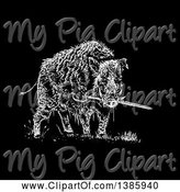 Swine Clipart of Black and White Wild Boar Pig Biting a Sword on Black by Lineartestpilot